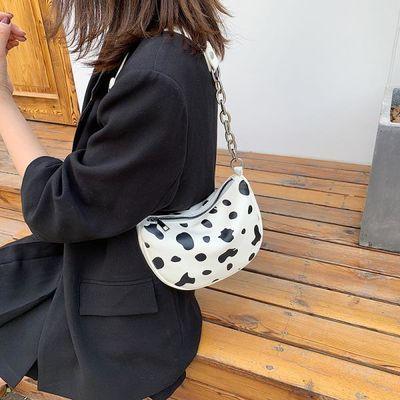 批发女包2020新款时尚韩版奶牛纹单肩包时尚百搭链条斜挎包PU女包