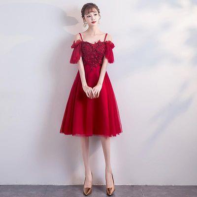 孕妇敬酒服新娘2020夏季新款高腰遮肚子显瘦结婚礼服酒红色大码女