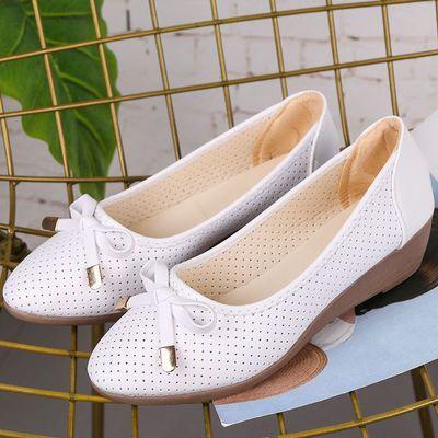 豆豆鞋女内增高女单鞋浅口平底鞋圆头牛筋底透气妈妈鞋女凉鞋夏季