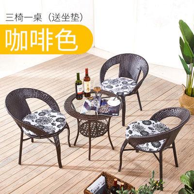 简约休闲圆桌子阳台小茶几玻璃小圆桌迷你小藤编织茶台简易小桌子