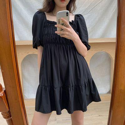大码女装复古方领连衣裙2020夏新款胖mm泡泡袖气质遮肚显瘦小黑裙