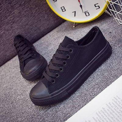 春秋季女士布鞋懒人鞋女全黑休闲鞋纯黑薄底一脚蹬女鞋黑色帆布鞋