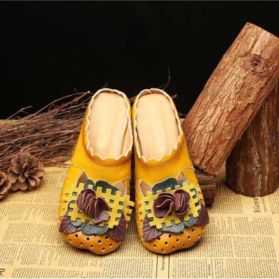 【亏本清仓】民族风凉拖鞋真皮包头凉鞋软底中跟女式花朵粗跟凉鞋