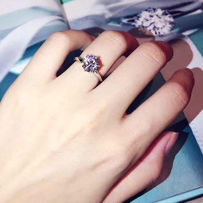 热销拉莫桑石钻戒 Pt铂金钻石戒指 结婚六爪女戒情人礼物