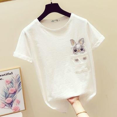 精品/95棉短袖T恤女2020夏季半袖韩版学生宽松上衣百搭白色体恤潮