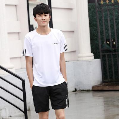 运动套装男夏季休闲运动服新款两件套短袖健身短裤跑步速干运动衣