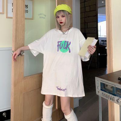 韩版原宿bf风复古涂鸦印花街头短袖T恤女嘻哈宽松学生半袖体恤夏