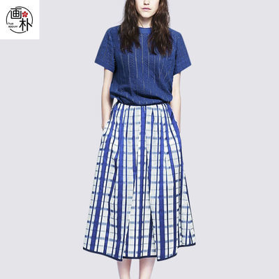 画朴小香风法式气质套装女夏季新款短袖蓝色T恤格子半身裙两件套
