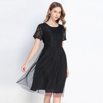 加大码网纱拼接时尚减龄雪纺连衣裙不退不换