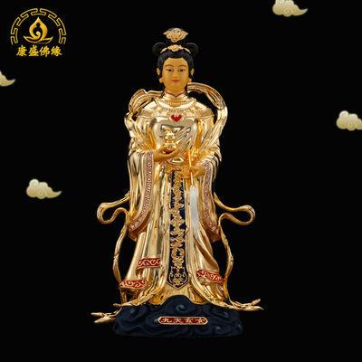 九天玄女娘娘神像台湾纯铜鎏金居家供奉九天玄母天尊道教摆件19寸