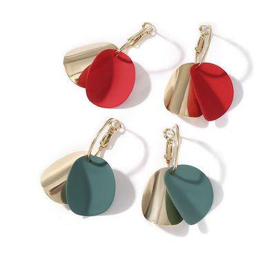 耳环夏天新款潮流清新个性百搭绿色红色圆片圆圈网红气质耳饰女
