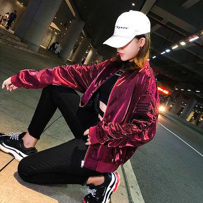 2020春秋新款潮牌嘻哈缎面外套女学生bf风飞行夹克短款刺绣棒球服