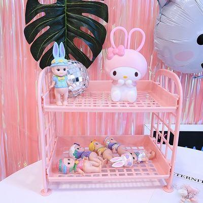 【狂欢价】少女心粉色塑料置物架双层镂空收纳桌面化妆收纳盒收纳