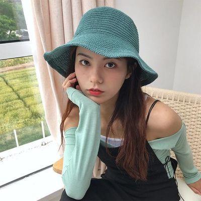 Sogo颜色炒鸡美好温柔的纯色渔夫帽子女甜美夏天镂空透气百搭盆帽