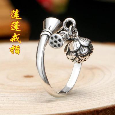 热销莲蓬铃铛女戒指时尚纯银复古韩版个性潮人网红银开口食指戒指