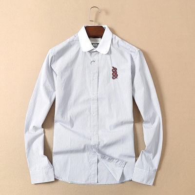 GC春装新款外贸大码休闲复古上衣高档酷奇衬衣男修身衬衫