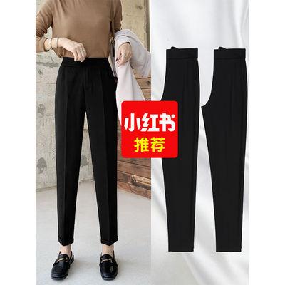 夏季雪纺西装裤女高腰直筒学生小个子九分显瘦小脚哈伦裤黑色女裤