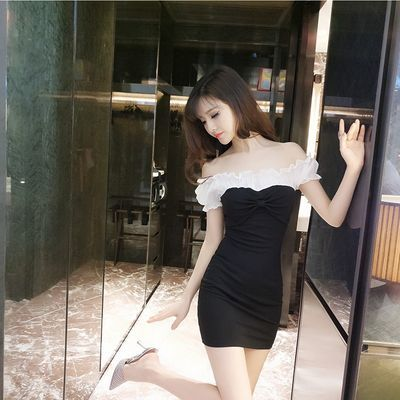 直播主播服装甜美夜店酒吧女装性感一字肩露肩显瘦灯笼袖连衣裙
