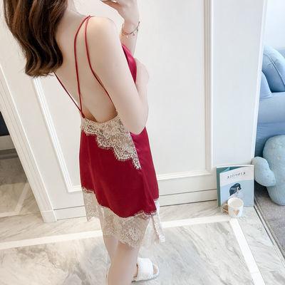 性感睡衣女夏季冰丝丝绸露背气质修身吊带睡裙蕾丝短裙美背可外穿