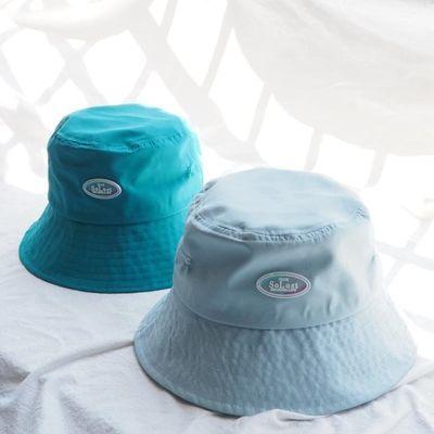 夏季速干清爽百搭水蓝色渔夫帽女洋气显白孔雀蓝色百搭米色盆帽子