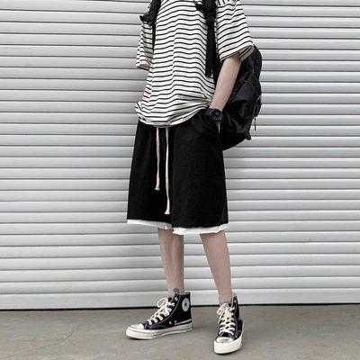 卡其色裤子短裤男潮牌ins休闲运动潮流宽松百搭五分裤中裤夏季