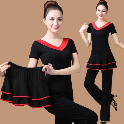 爆款广场舞服装新款套装夏中老年跳舞衣成人运动舞蹈服分体式三件