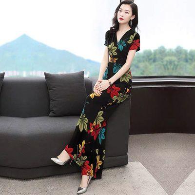 连体裤套装女夏2020新款雪纺印花时尚名媛高腰垂感连衣阔腿裤