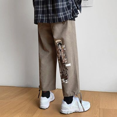 卡其色裤子潮流休闲裤薄款九分裤夏季男士韩版宽松胖子宽松男大码
