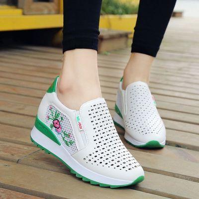 内增高网面小白鞋女2020夏季新款韩版休闲透气镂空运动鞋女洞洞鞋