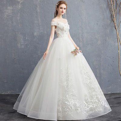 外贸婚纱礼服2020欧美新款一字肩新娘显瘦高腰孕妇简约小个子拖尾