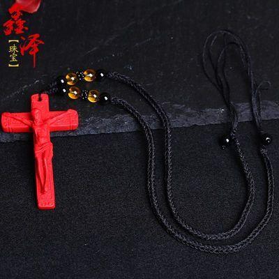 热销朱砂基督耶稣十字架男女时尚款转运辟邪吊坠饰品项链