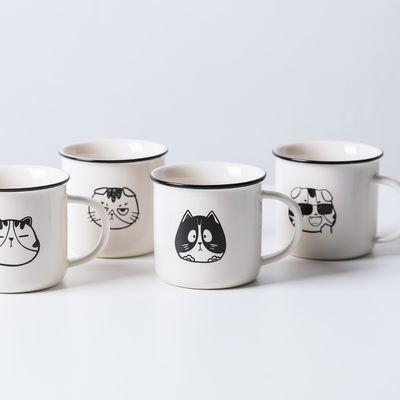 日式家用水杯卡通可爱猫咪马克杯礼盒装带勺牛奶杯早餐杯陶瓷杯子