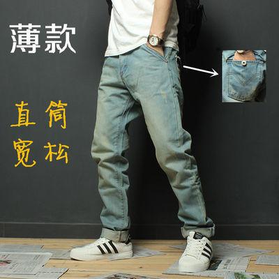 春夏日系牛仔裤男直筒宽松浅蓝色韩版潮流港风ins男裤子百搭长裤