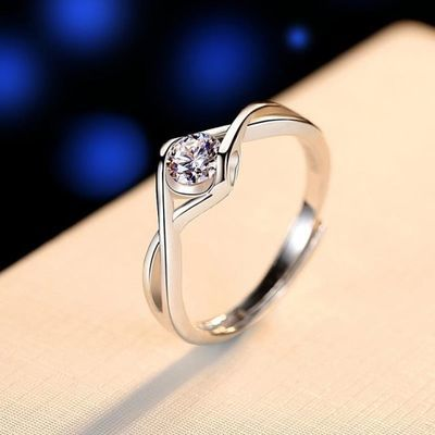 戒指女纯银999爱心指环食指钻戒开口个性气质简约ins学生礼物银饰