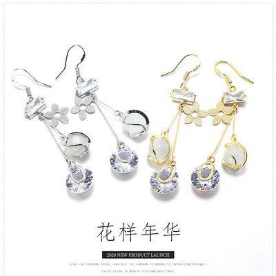 猫眼石耳饰品女耳环长款日韩国气质个性百搭时尚优雅网红纯银耳坠