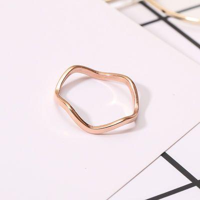 波浪纹细款戒指女学生钛钢玫瑰金指环日韩简约时尚光面关节尾戒子