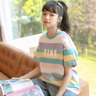 短袖T恤少女夏装2020新款初中高中学生韩版宽松条纹休闲上衣体恤