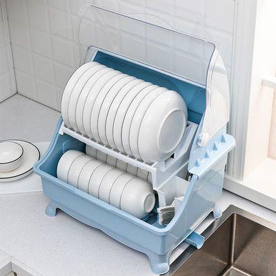 厨房放碗筷收纳盒家用碗碟沥水碗架带盖装碗柜盘子餐具储物箱塑料