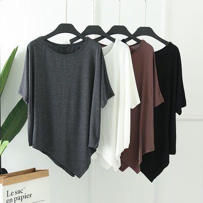 莫代尔大码不规则蝙蝠袖上衣夏季女中长款短袖T恤圆领宽松打底衫