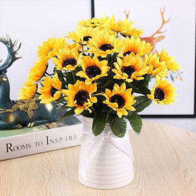 热销仿真向日葵花客厅摆件假花绢花装饰花束客厅餐桌花小清新花艺