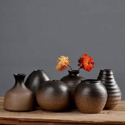 创意粗陶简约摆件迷你小花瓶桌面陶瓷小花器干花瓶复古水培花插