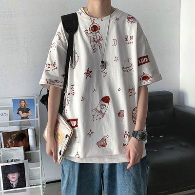 100%纯棉卡通印花短袖T恤男韩版宽松ins潮流百搭五分袖半袖上衣潮