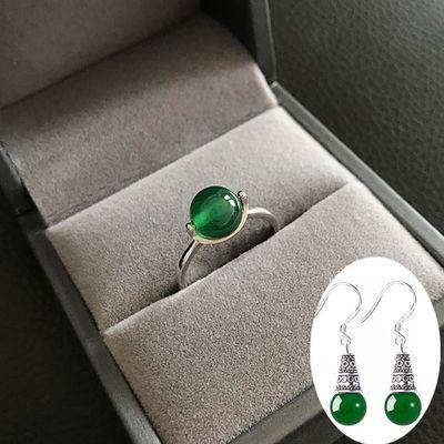 热销玛瑙转运珠戒指女款银镶嵌红玛瑙黄玉髓宝石戒指女纯银开口饰