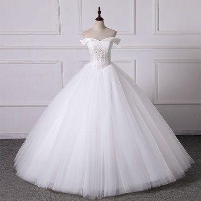 婚纱礼服2020新款春一字肩新娘法式显瘦齐地新娘婚礼蓬蓬纱轻婚纱