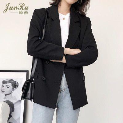 小西装外套女2020新款春季时尚韩版气质黑色百搭双排扣短款西服潮