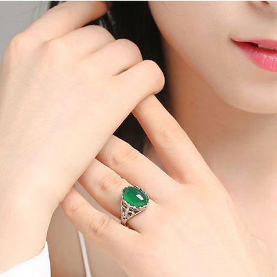 热销s925银镶绿玉髓红宝石玉石玛瑙戒指女韩版大方气质开口纯银戒