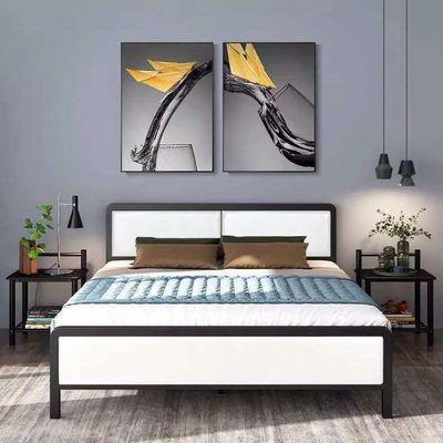 铁艺床双人床欧式床公寓床单人床铁架床软包床头环保加固型
