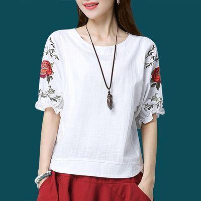 含人棉 文艺大码刺绣白色短袖T恤女妈妈装夏季上衣宽松显瘦打底衫