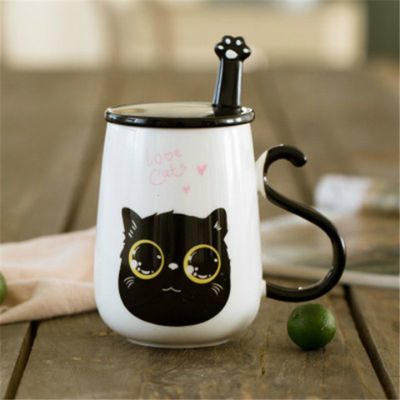 爆款创意韩版猫咪陶瓷杯子情侣杯一对个性水杯牛奶马克杯大容量办