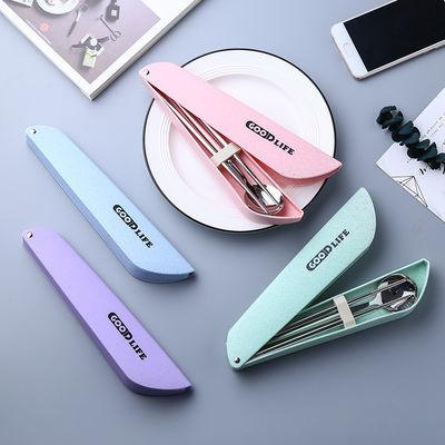 便携筷子勺子套装 304不锈钢筷子盒勺子盒学生成年旅游便携餐具盒